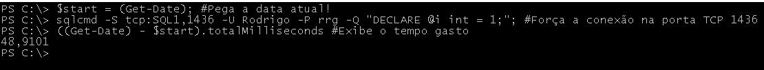 Tempo de conexão com TCP forçado