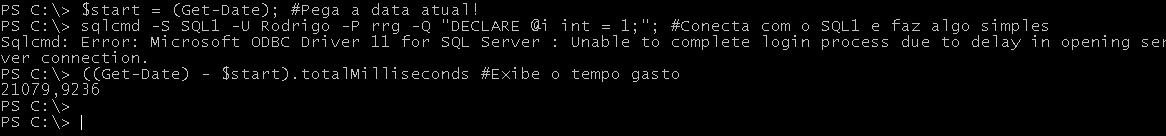 Tempo de conexão em instância default, com firewall na 1433