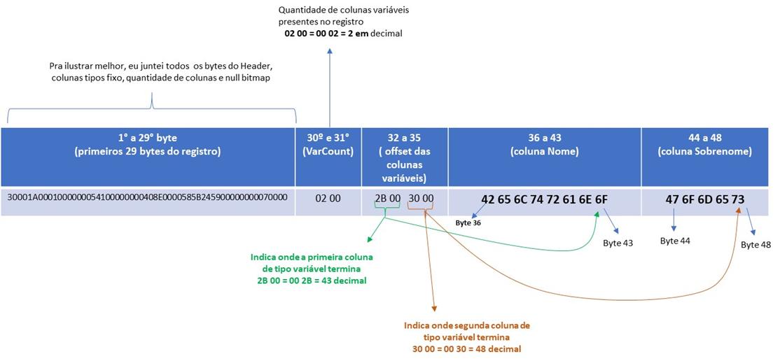 Disposição dos bytes envolvidos nas colunas de tipo variável